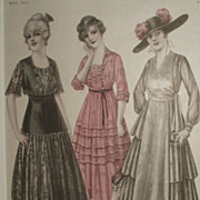 Antique 1916 McCall's Magazine Fashion Print / Matted Ready To Frame