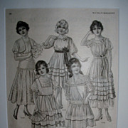 Antique 1916 McCall's Fashion Print / Matted Ready To Frame