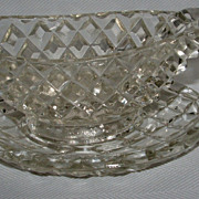 Pressed Glass Mini Individual Gravy Sauce Boat / Dish / Under Plate