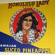 Beautiful 1930's Honolulu Lady Pineapple Fruit Crate Label / Matted And Framed