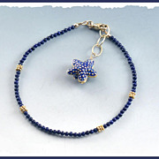 Royal Blue Lapis Anklet with Starfish Charm