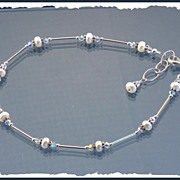 SALE Stylish Swarovski Crystal and Cultured Fresh Water Pearl Anklet