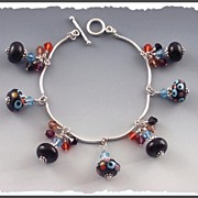 REDUCED Sassy Lampwork and Swarovski Crystal Fringe Charm Bracelet
