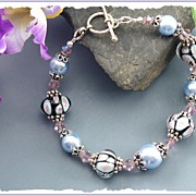 Graceful Pink and Blue Lampwork and Swarovski Crystal Bracelet