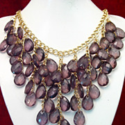 Beautiful 1980's~ Full Bib Necklace in Amethyst Color Lucite Tear Drops