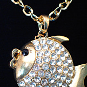 Unique Rhinestone PUFFER Fish Necklace w/ Tassel Feature