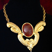 Large DRAMATIC RETRO Amber Color Cabochons Necklace