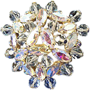 Vintage Aurora Borealis Rhinestone Brooch w/ Glass Beads