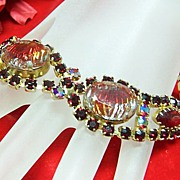 SALE Beautiful Vintage Art Glass & Rhinestone Bracelet