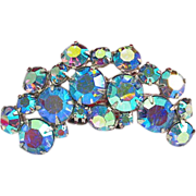 REDUCED Gorgeous!! Vintage Blue Aurora Borealis Rhinestone Brooch