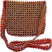 REDUCED 50% OFF~Vintage Amber Colored Beaded Shoulder Purse
