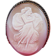 Carved Shell Cameo~Angel With Harp Brooch / Pendant