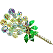 Vintage Glass Beads & Rhinestone Floral Brooch