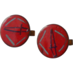 Enamel Red on Copper Cufflinks Cuff Links