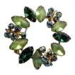 Marquis Cut Green Rhinestone Circle Pin Brooch