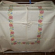 Vintage Hand Embroidered Table Topper Coverlet