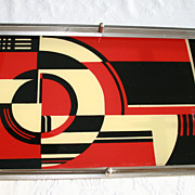 RARE Jazz Tray, Art Deco Cocktail Martini Reverse Painted Glass Vintage Barware