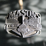 SOLD 1988 Masonic Mason Fraternal Lodge Mens Pewter Belt Buckle