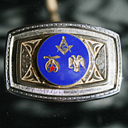 Fraternal Mason Masonic 32nd Degree Enameled Metal Belt Buckle