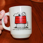 SOLD Charles Schulz Snoopy Fire King Mug I Think I�m Allergic To Morning