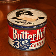 Vintage Butter- Nut �3 Cents Off� 1 lb. Coffee Can With Snug Fitting Lid Omaha