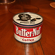 SOLD Vintage Butter-Nut 1 lb. Coffee Tin With Snug Fitting Lid Omaha Nebraska