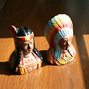 Native American Indian Maiden & Chief Souvenir Salt Pepper Shakers