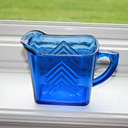 Hazel Atlas Cobalt Blue Depression Glass Large  Chevron Milk Pitcher