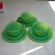 Vintage Fire-King Jadite Jane Ray Cups and Saucers Lot of 3