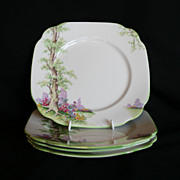 Royal Albert Greenwood Tree 4 Square 7 1/2� Plates Green Trim