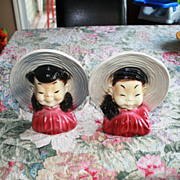 Vintage Asian Oriental Girl Wall Pocket Vases (2) Royal Copley Gray & Pink