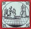 c1720 English Purple Manganese Biblical Delft Tile with Pontius Pilate and Jesus (Matthew 27:24)