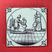 SALE c1720 English Purple Manganese Biblical Delft Tile with Pontius Pilate and Jesus (Matthew