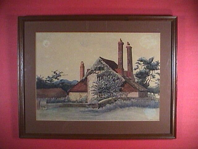 c1900 Watercolor English Country Scenic Old Farm House, signed Ruby Hucker (artist)