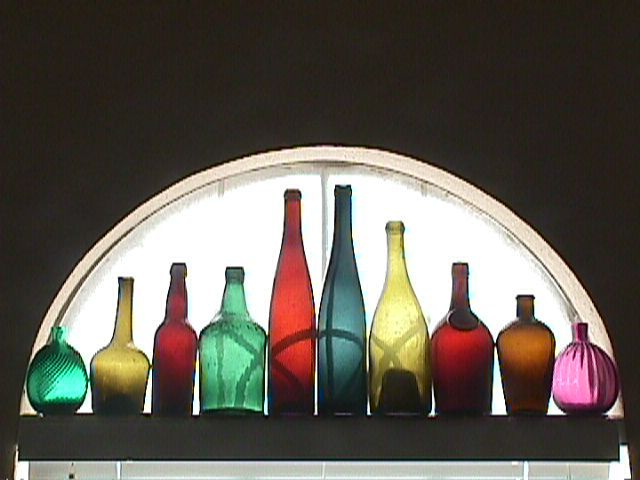 Ten Colorful Hand Blown Bottles for Display or Decoration (dating c1765 up to 1890+)