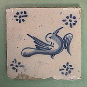 SALE Late 1500s European Tin Glazed Blue & White Bird Tile