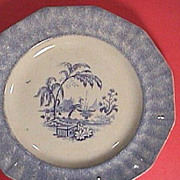 SALE c1845 Blue Spatterware Spongeware Ironstone Plate with Transfer Print