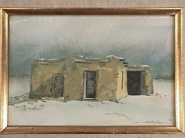 American Southwest Adobe House in Winter Snow Squall  c1996