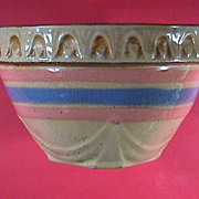 SALE Small 5+ Inch Yellowware Bowl with Pink & Blue Bands c1930