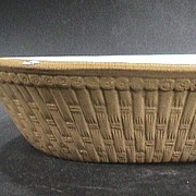 SALE 19th C Molded Woven Basket Large Yellowware Pottery Bowl or Pan