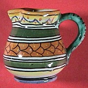 SALE Miniature Tin Glazed Deruta Pitcher (signed) with colorful hand painted decoration (mid 2