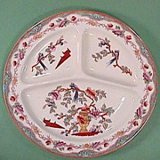 SALE c1910 Hand Colored Chinese Parrots Grill Plate (Maestricht, Holland)