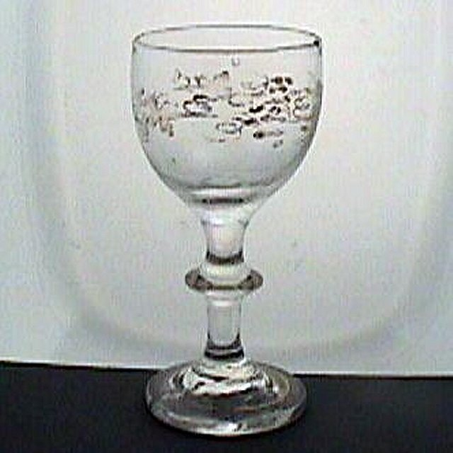c1820 Button Stem Gilded Small Wine Glass with rough snapped Pontil