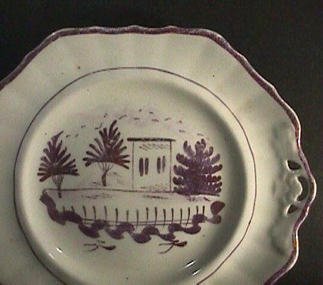 c1845 Pink Luster Hand Painted English Bone China Tray or Plate