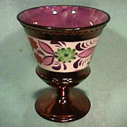 SALE c1825 Copper Luster Molded Goblet with Floral Enameling, Pink & Purple Luster decoration