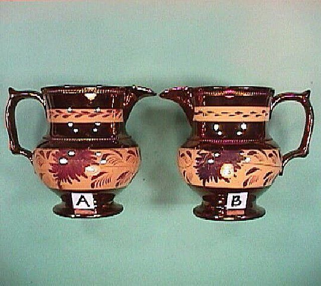 c1830 Pair of Copper Luster Pitchers with Light Orange Bands & Pink Luster Decoration