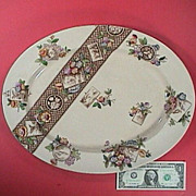 SALE 1884 Brown printed Aesthetic Platter with hand painted color accents by W.A. Adderley