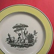 SALE c1820 yellow rim Creamware Plate with print of �La Fontaine�s Fable #8'