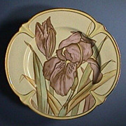 SALE Nascent Art Nouveau Scottish Plate with hand colored Irises by Bayley Murray & Co (1875-8