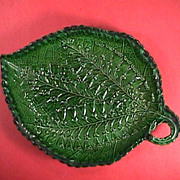 SALE c1820 Staffordshire superbly molded emerald green glazed serrated Leaf Dish